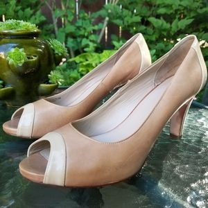 Cole Haan Leather/Patent Leather Peep Toe Pumps 9B